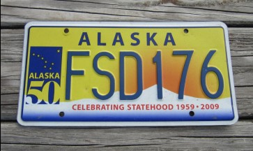 Alaska 50th Anniversary Celibrating State Hood License Plate FSD 176