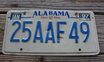 Alabama Heart of Dixie License Plate 1997 25AAF49