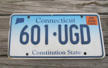 Connecticut Blue Fade License Plate Constitution State