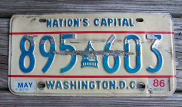 District of Columbia License Plate Washington DC Nation's Capital 1986