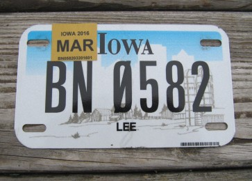 Iowa Motorcycle Farm Scene License Plate 2016