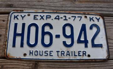 Kentucky House Trailer License Plate 1977