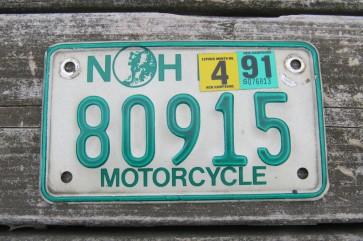 New Hampshire White Trailer License Plate 1977