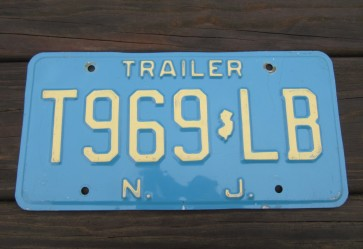 New Jersey Garden State Blue Trailer License Plate 1980's