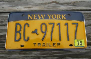 New York Gold Trailer License Plate 2015