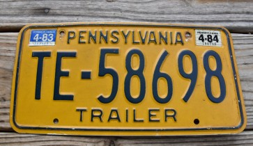 Pennsylvania Yellow Keystone Trailer License Plate 1984