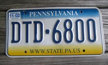 Pennsylvania Tri Color License Plate 2002