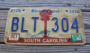 South Carolina Bicentennial Palm Tree License Plate 1980 Civil War Cannon
