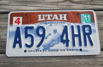 Utah Life Elevated Skier License Plate 2011 Greatest Snow on Earth