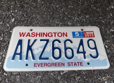 Washington Mt Rainier Volcano License Plate 2013