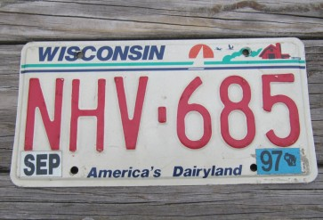 Wisconsin America's Dairyland License Plate 1997
