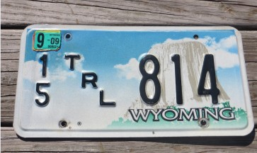 Wyoming Devils Tower Trailer License Plate 2009