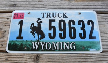 Wyoming Bucking Horse Truck License Plate 2017