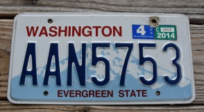 Washington Mt Rainier License Plate 2014