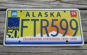 Alaska 50th Anniversary Celibrating State Hood License Plate 2016 FTR 599