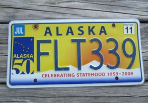 Alaska 50th Anniversary Celibrating State Hood License Plate 2011 FLT 339