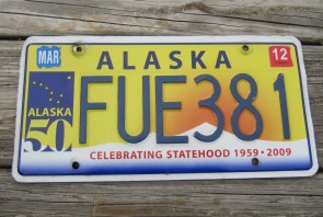 Alaska 50th Anniversary Celibrating State Hood License Plate 2012 FUE 381