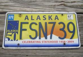 Alaska 50th Anniversary Celibrating State Hood License Plate 2015 FSN 739
