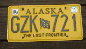 Alaska Gold Rush Centennial License Plate EJE 848