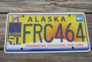 Alaska 50th Anniversary Celibrating State Hood License Plate 2010 FRC 464