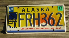 2003 Alaska Flag License Plate The Last Frontier CJZ 321