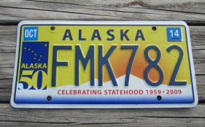 Alaska 50th Anniversary Celibrating State Hood License Plate 2014 FMK 782