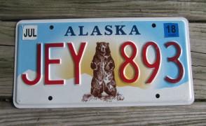 Alaska Standing Bear License Plate 2018 JEY 893
