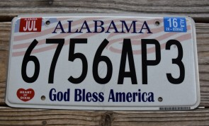 Alabama God Bless America License Plate 2016 6756AP3