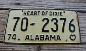 Alabama White Black License Plate 1974 Heart of Dixie 70 2376