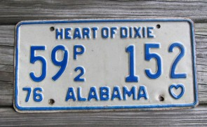 Alabama Heart of Dixie License Plate 1985