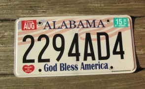 Alabama God Bless America License Plate 2015