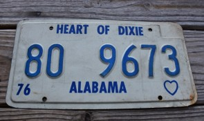 Alabama Heart of Dixie License Plate 1976  80 9673