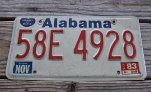 Alabama Heart of Dixie License Plate 1983  58E7928