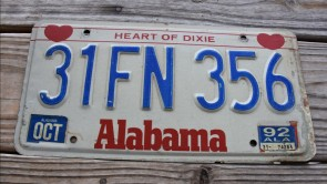 Alabama Heart of Dixie License Plate 1992 32FN356