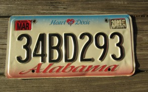 Alabama Heart of Dixie License Plate 2000 47JY463