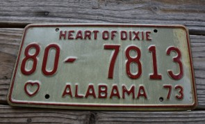 Alabama White Red License Plate 1973 Heart of Dixie 80 7813