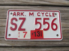 Arkansas Motorcycle License Plate 2013