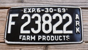 Arkansas Farm Products License Plate 1969