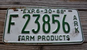 Arkansas Farm Products License Plate 1968 F 23856