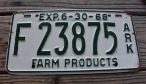 Arkansas Farm Products License Plate 1968