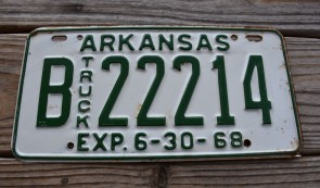 Arkansas Truck License Plate 1968