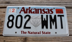 Arkansas Diamond The Natural State License Plate 2016 802 WMT