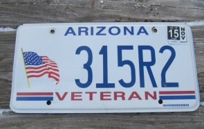 Arizona Veteran American Flag License Plate 2015