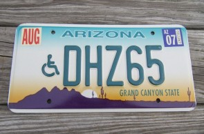 Arizona Sunset Cactus Handicapped License Plate Grand Canyon State 2007 DHZ 65