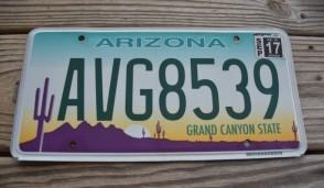 Arizona Sunset Cactus License Plate Grand Canyon State 2017 AVG 8539