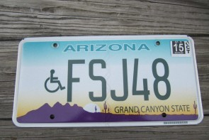Arizona Sunset Cactus Handicapped License Plate Grand Canyon State 2015
