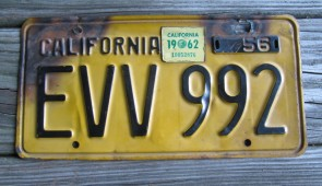 California Blue Yellow License Plate 1984 1CYN577