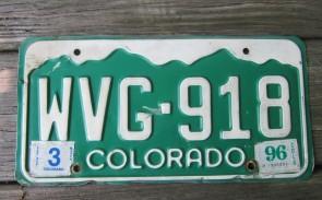 Colorado Mountain Scene License Plate 1996