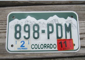 Colorado Motorcycle Mountains License Plate 2011