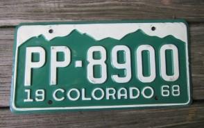 Colorado Mountain Scene License Plate 1968